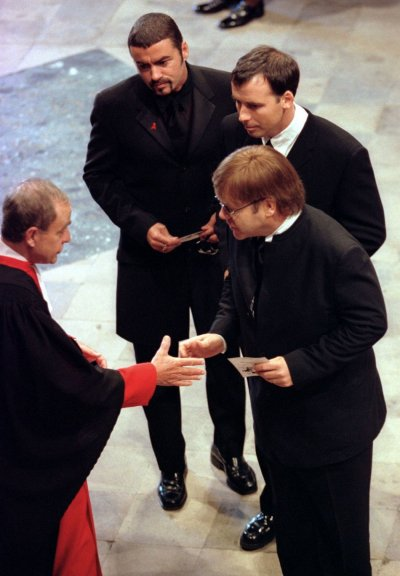 Michael top, Elton John R and David Furnish C at the funeral service for Diana, Princess of Wales at Westminster Abbey, September 6,1997