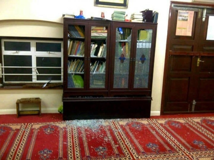 a window and a bookcase containing copies of the Koran were smashed at the mosque in Gillingham (twitter/diarf9)