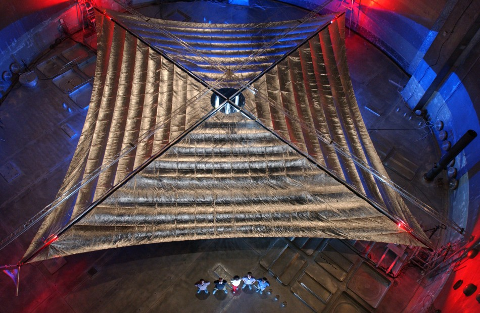 Huge size of solar sail by people in bottom middle of image