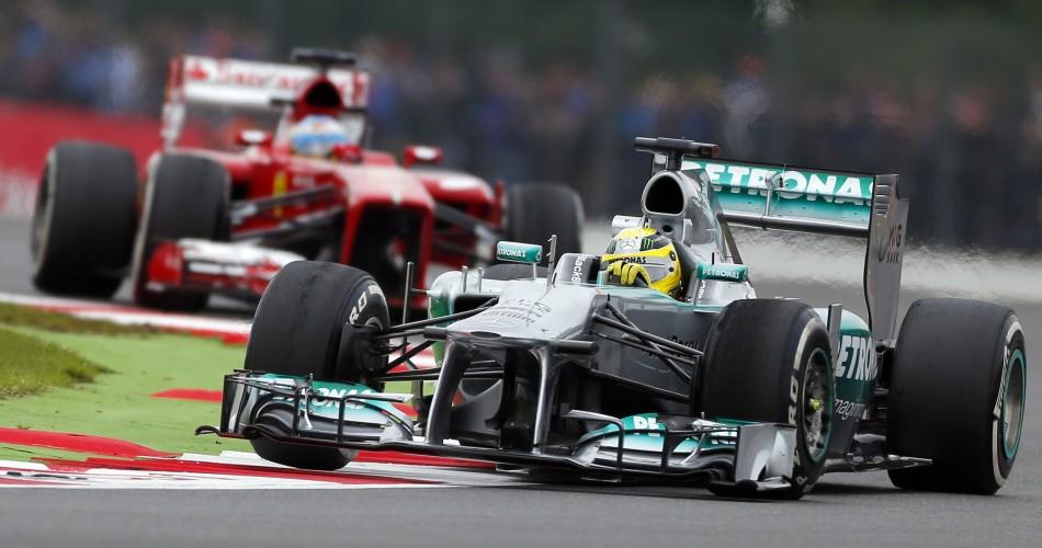 Nico Rosberg (R) [Mercedes] and Fernando Alonso [Ferrari]