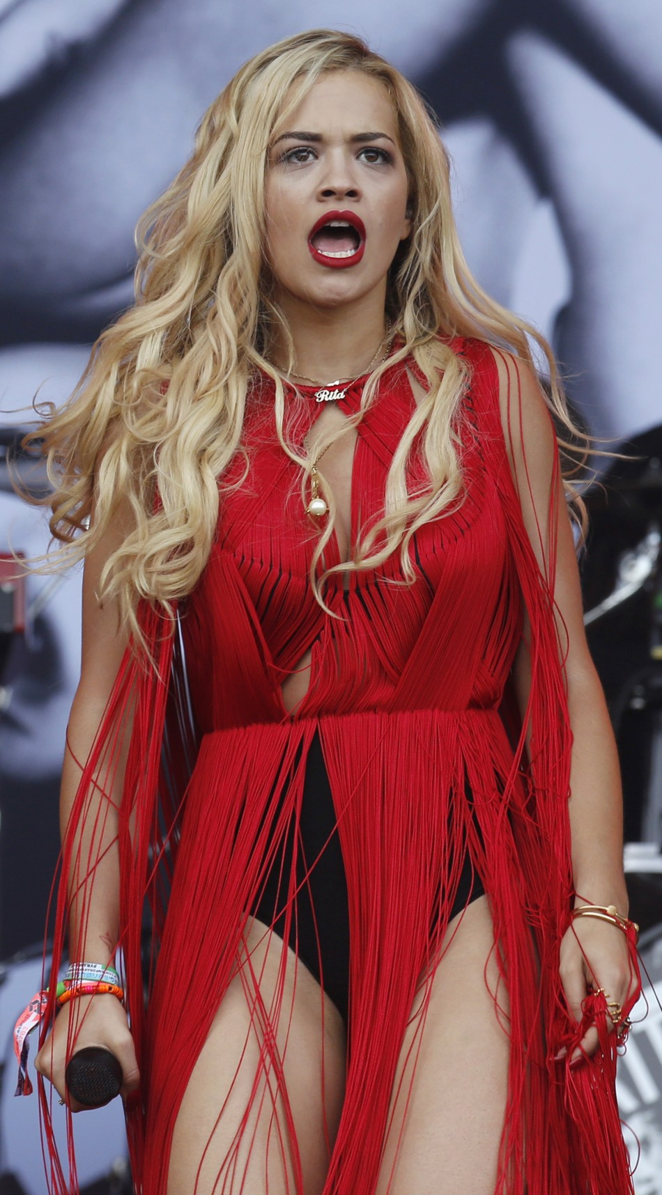 Rita Ora performs at the Pyramid stage on the third day of Glastonbury music festival at Worthy Farm in Somerset June 28, 2013.