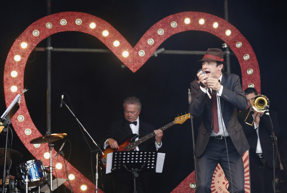 Singer Michael Campari performs on the Sensation stage on the third day of Glastonbury music festival at Worthy Farm in Somerset, June 28, 2013.