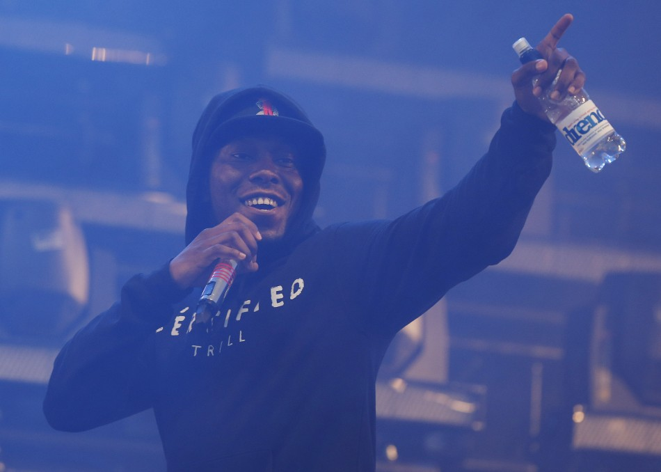 Rapper Dizzee Rascal performs on the Pyramid Stage on the third day of Glastonbury music festival at Worthy Farm in Somerset, June 28, 2013.