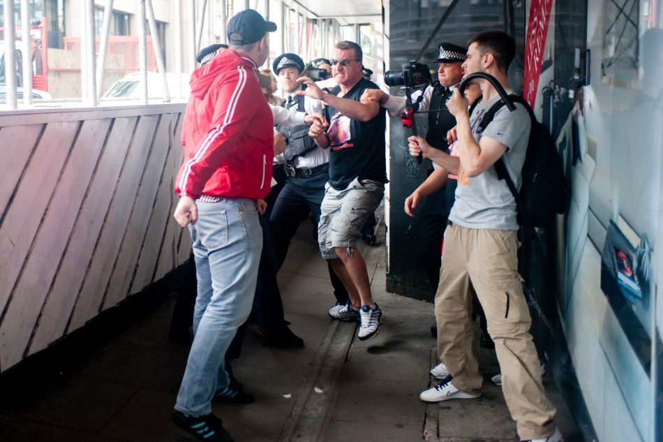 Two men confront EDL leaders DO NOT USE AS WE HAVE TO PAY FOR EACH PUBLICATION