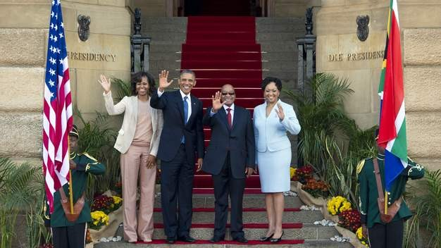 Obama (left centre) with Jacob Zuma and their wives