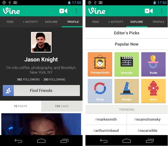 Vine Application for Android (Courtesy: play.google.com)