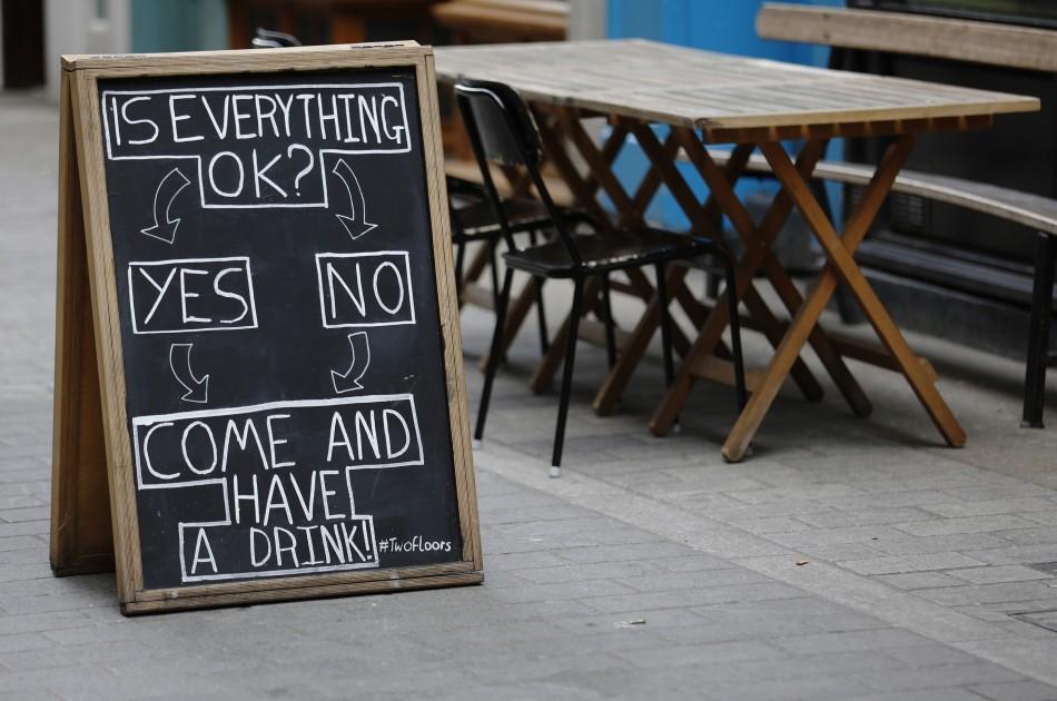 Sign outside British pub