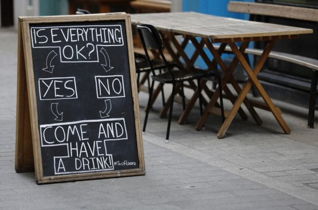 Sign outside British pub