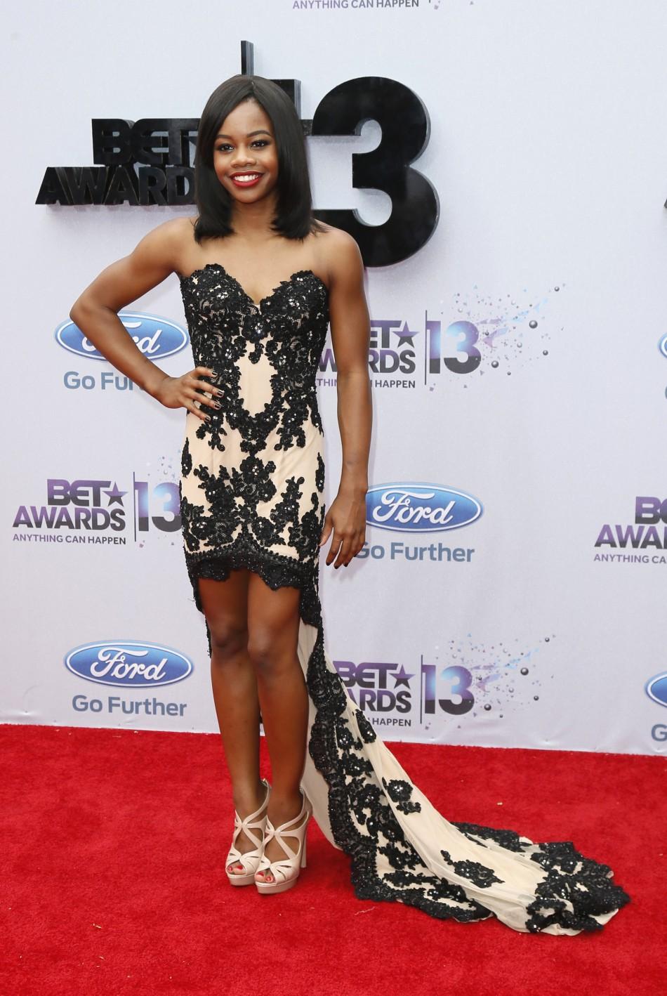 Olympian Gabby Douglas arrives at the 2013 BET Awards in Los Angeles, California June 30, 2013.