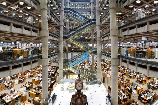 Lloyd's of London Underwriting Room with Lutine Bell and Nelson Collection.