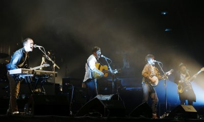 Mumford  Sons, from L Ben Lovett , Marcus Mumford, Winston Marshall and Ted Dwane perform
