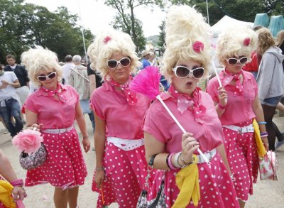 The Pink Ladies pose for photographs