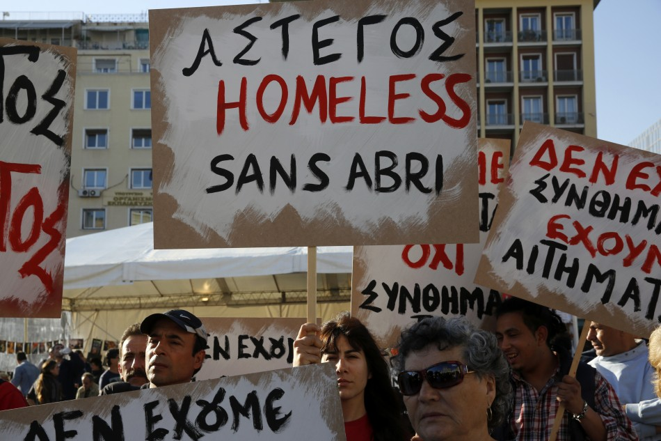 People take part in a protest organised by a charity called Klimaka in Athens April 14, 2013. Since the debt crisis erupted in 2009, hundreds of thousands of Greeks have lost their jobs and the unemployment rate in the country reached 26.8 percent in Marc