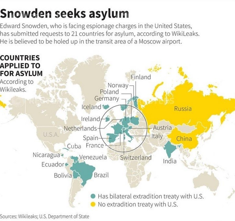 Where Edward Snowden has asked for asylum