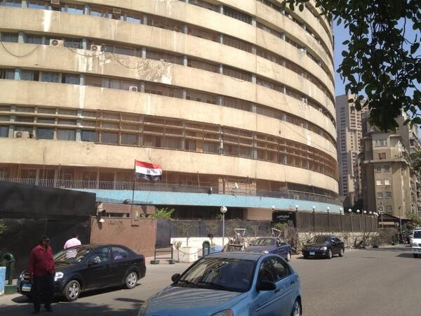 At Egyptian TV building. Staff confirm military has taken over