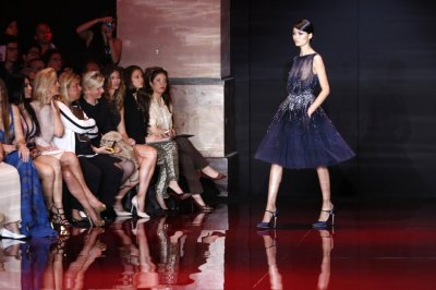 A model presents a creation by Lebanese designer Elie Saab as part of his Haute Couture Fall Winter 20132014 fashion show in Paris