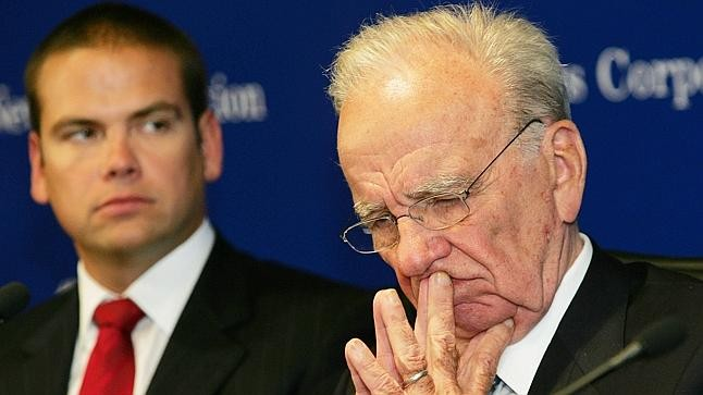 Lachlan Murdoch, left, and his father Rupert