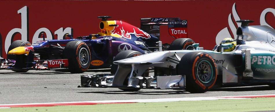 Sebastian Vettel [Red Bull Racing-Renault] (L) and Nico Rosberg [Mercedes F1]