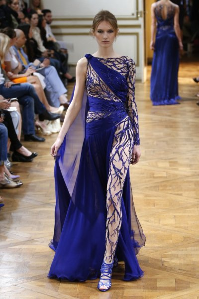 A high-end electric blue evening gown