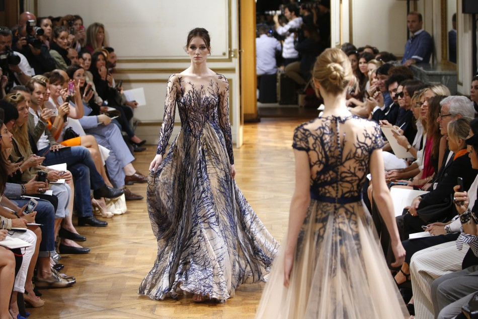 For me its like a dream for a young woman so there is a lot of luxury touches on the dresses, satin, lace, chiffon, shiny fabrics and glittering embroidery, some sequins and crystals, Murad said of his collection.