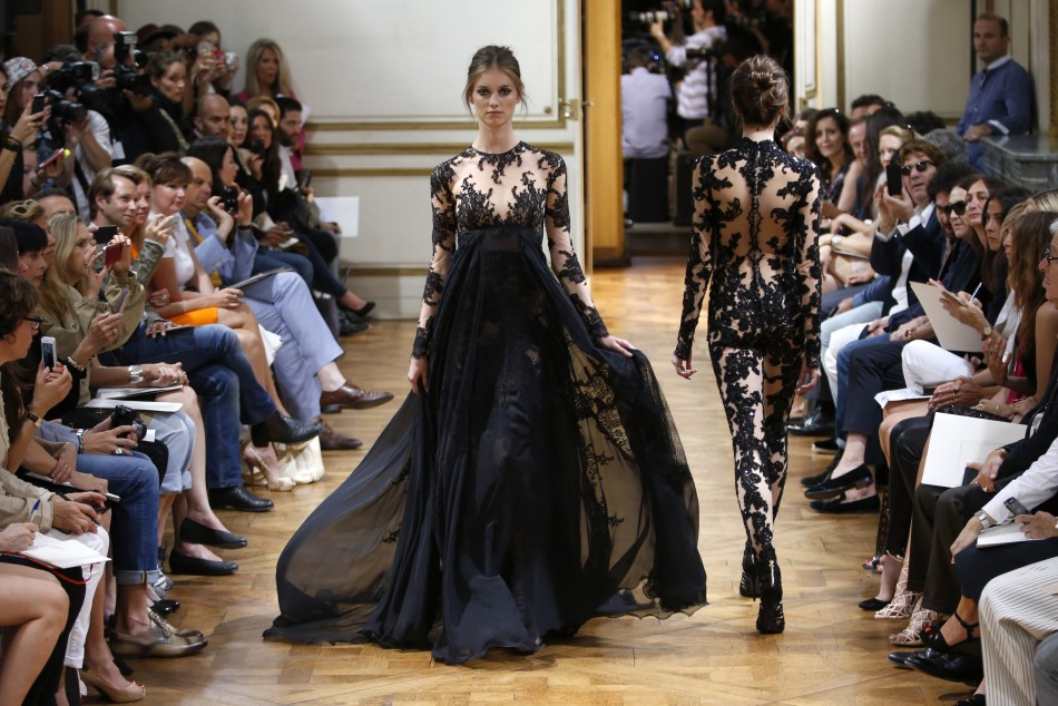 A black gown with lace bustiers