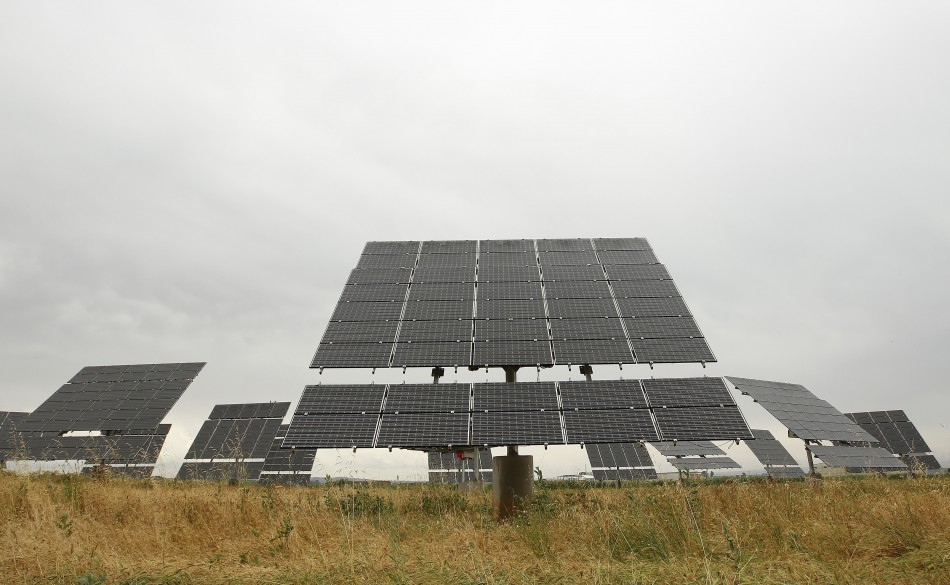 Solar panels are seen at a small solar farm in Linyola, northeastern Spain