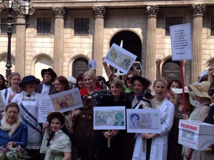 Campaigners for women on banknotes stage a fancy dress protest outside Bank of England while delivering a 30,000-signature petition (Katherine Sladden @katsladden via Twitter)