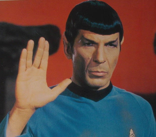 Star Trek's half-Vulcan character Mr. Spock on the original Star Trek television series