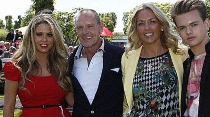Paul Gascoigne with family at Windsor races
