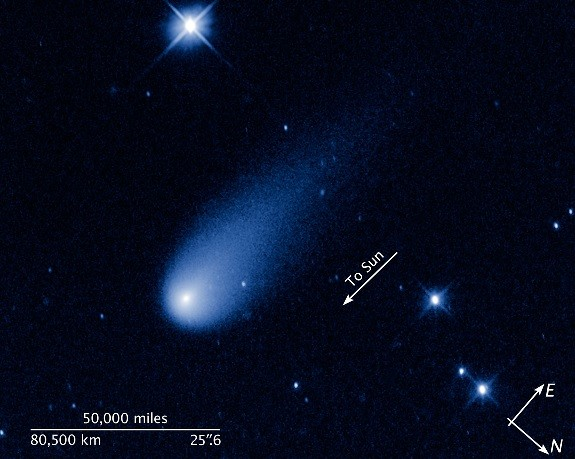 Images of Comet Ison captured by Nasa's Hubble telescope.