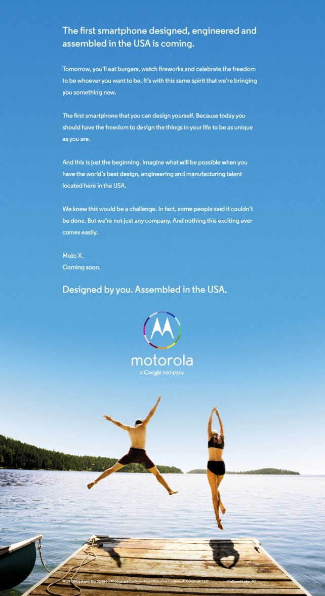 Moto X Advertisement (Courtesy: adage.com)