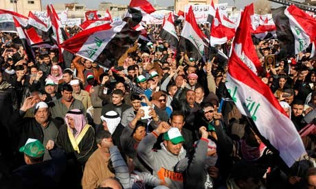 Sunni Muslims protest in Baghdad.