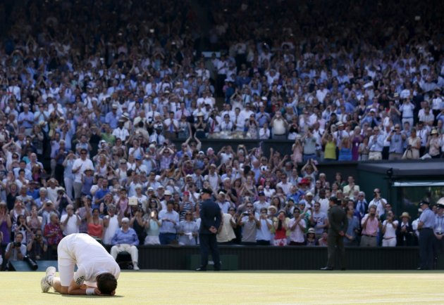 Andy Murray collapses to ground after Wimbledon victory