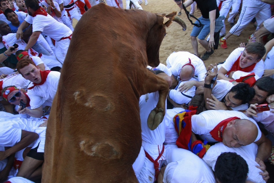 John Bennett, became the first casualty at Pamplona's annual running of the bulls fiesta