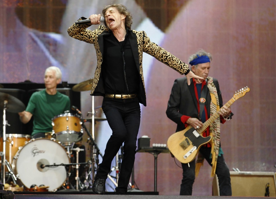 Drummer Charlie Watts, Mick Jagger and Keith Richards (R) of the Rolling Stones perform at the British Summer Time Festival in Hyde Park in London July 6, 2013
