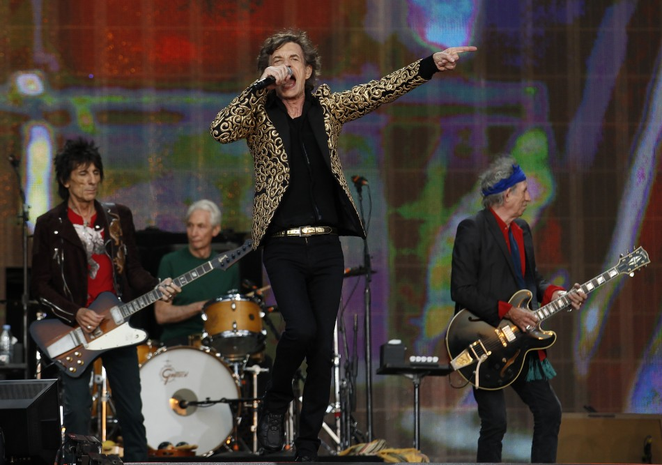 (L-R) Ronnie Wood, Charlie Watts, Mick Jagger and Keith Richards of the Rolling Stones at a performance