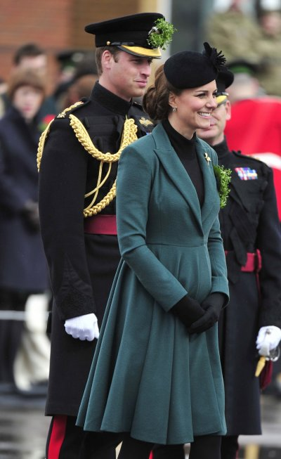 Catherine, Duchess of Cambridge and her husband, Prince William, attend a St Patricks Day Parade at Mons Barracks in Aldershot, southern England March 17, 2013.