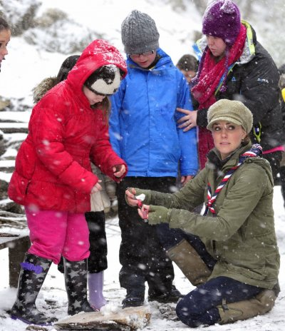 Catherine, Duchess of Cambridge visits the Great Tower Scout Camp at Newby Bridge in Cumbria, northern England March 22, 2013.