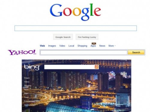 Google, Yahoo and Bing search engines (from top to bottom)
