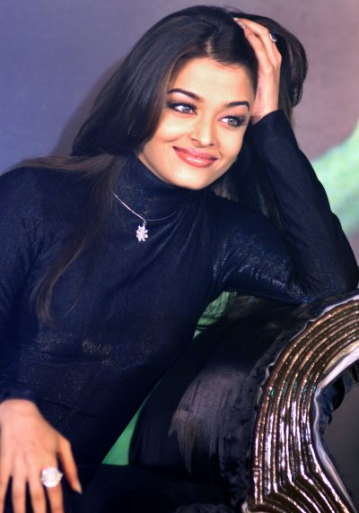 Bollywood star Aishwarya Rai poses for photographers during the launch of a diamond jewellery collection in Bombay May 7, 2003.