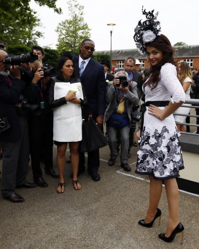 Bollywood actress Aishwarya Rai R attends the first day of the Royal Ascot horse racing festival at Ascot, southern England, June 18, 2013.