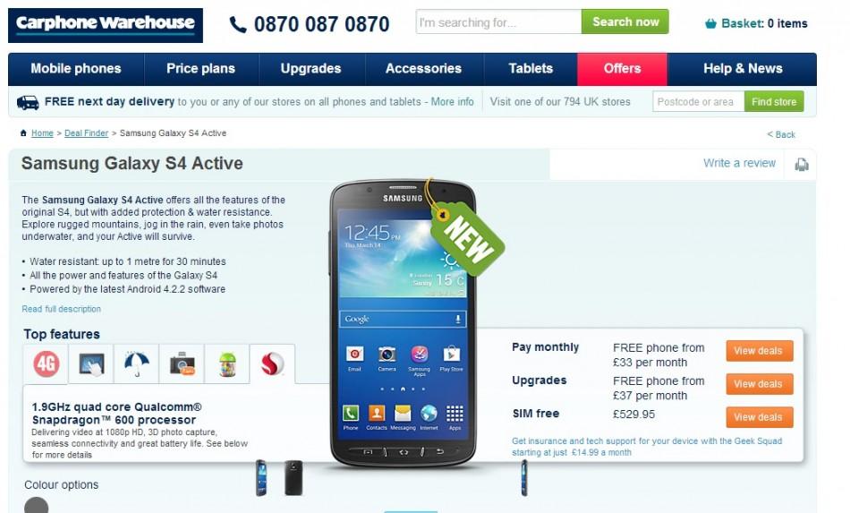 Samsung Galaxy S4 Active on Sale (Courtesy: www.carphonewarehouse.com)