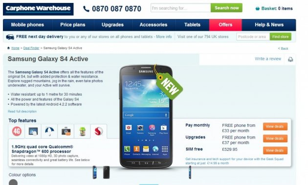 Samsung Galaxy S4 Active on Sale (Courtesy: www.carphonewarehouse.com)