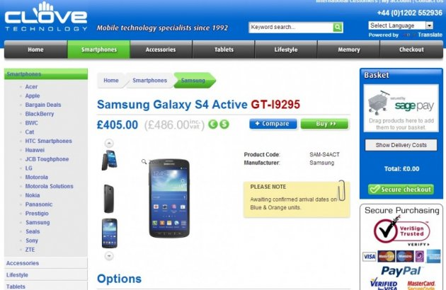 Samsung Galaxy S4 Active on Sales by Clove (Courtesy: www.clove.co.uk)
