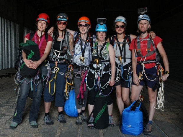 The six demonstrators before the climb (Greenpeace)