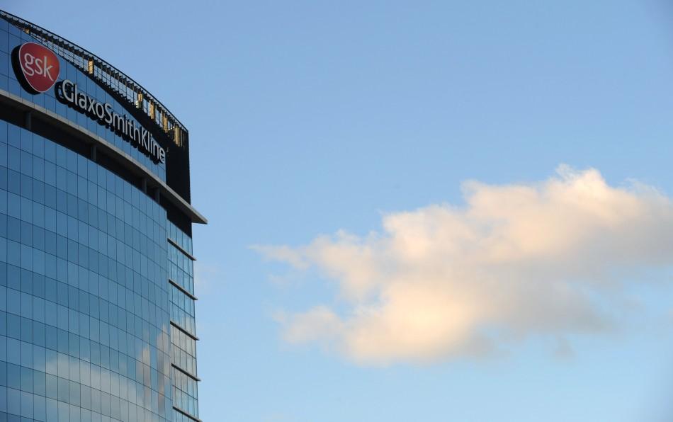 A GlaxoSmithKline logo is seen outside one of its buildings in west London