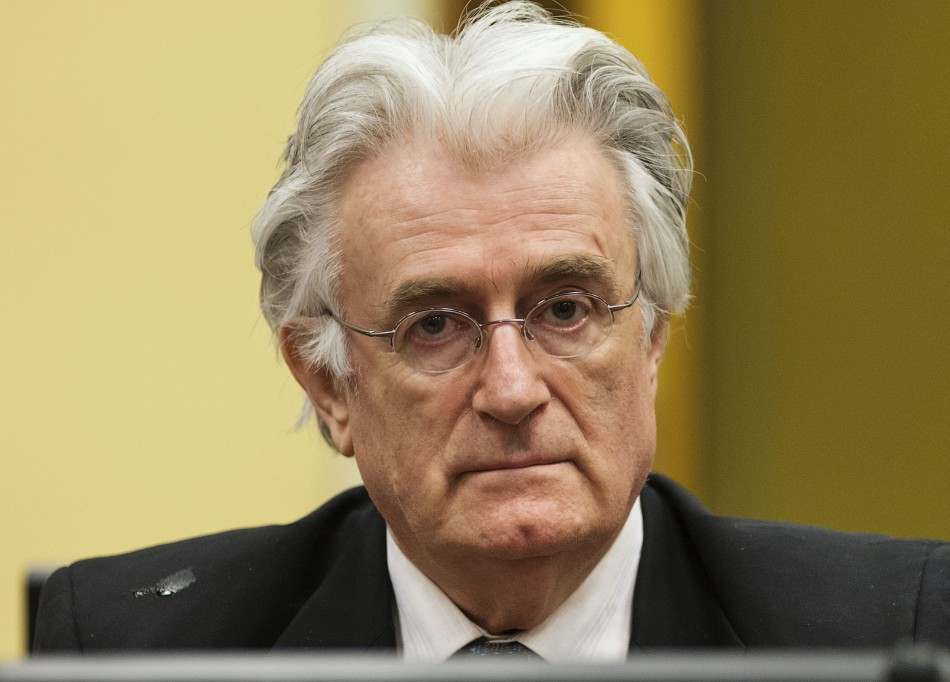 Bosnian Serb wartime leader Radovan Karadzic appears in the courtroom for his appeals judgement at the International Criminal Tribunal for Former Yugoslavia