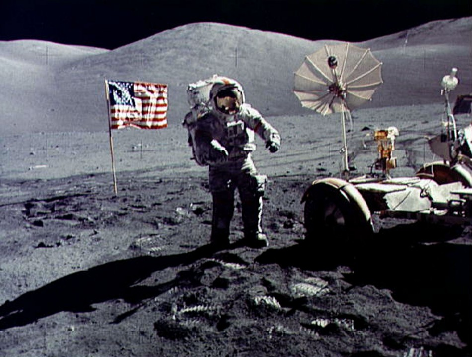 Space buggy on the lunar surface