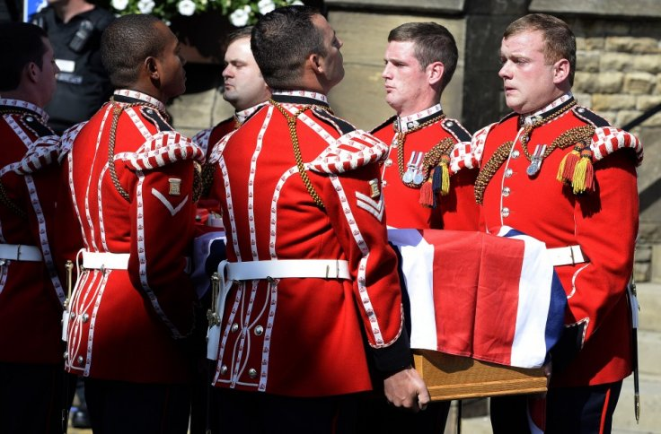 The coffin of Fusilier Lee Rigby arrives for a vigil at the Parish Church in Bury (Reuters)