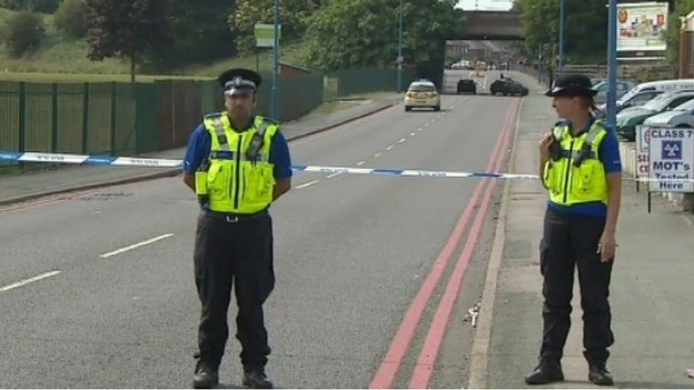 Police near the scene of blast in Tipton